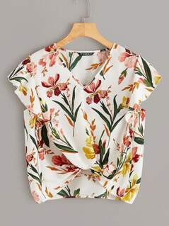 Ruffle Armhole Twist Hem Floral Top