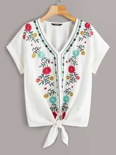 Cuffed Embroidery Front Knot Hem Top