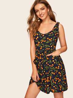 Tie Strap Fruit Print Dress
