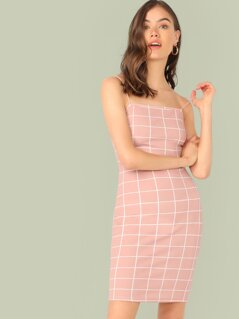 Grid Bodycon Cami Dress