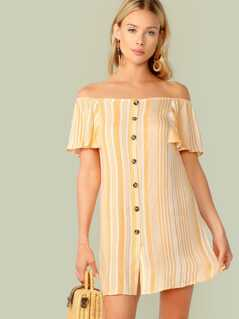 Off Shoulder Ruffle Trim Button Front Striped Dress