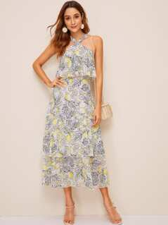 Lemon Print Layered Ruffle Hem Halter Dress