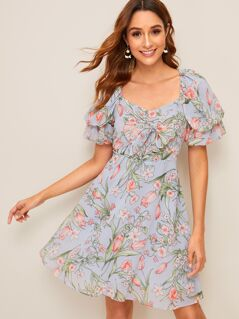 Floral Print Puff Sleeve Knot Front Flare Dress