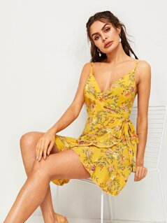Floral Print Tie Side Wrap Cami Dress