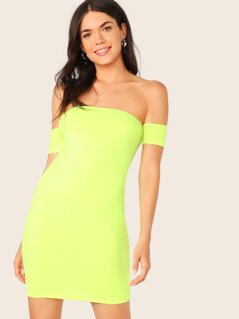 Neon Yellow Off Shoulder Bodycon Dress