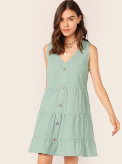 Solid Buttoned Front Smock Dress