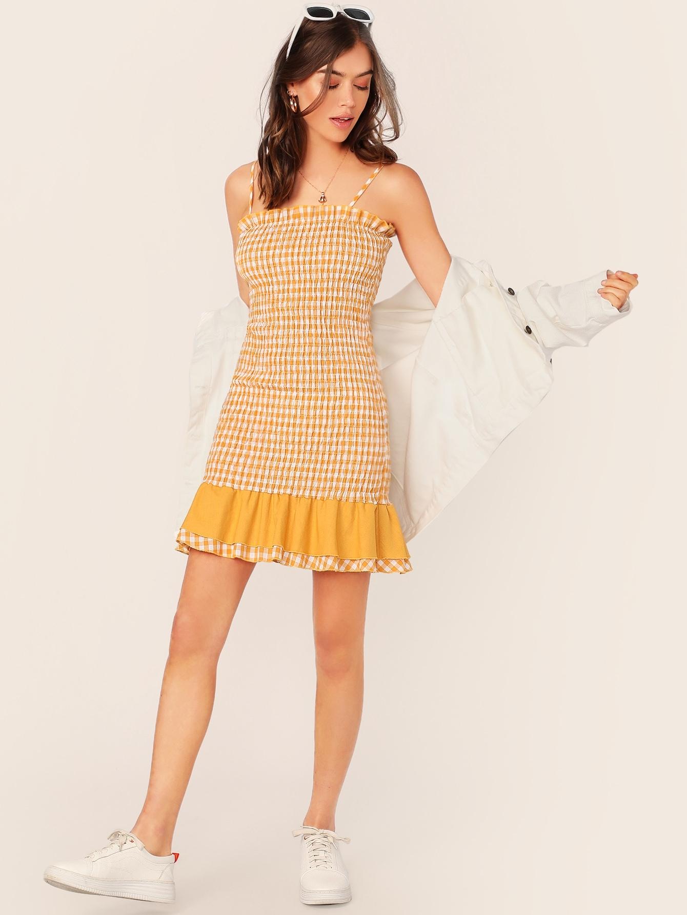 Фото - Платье со складкой и оборкой от SheIn цвет жёлтые