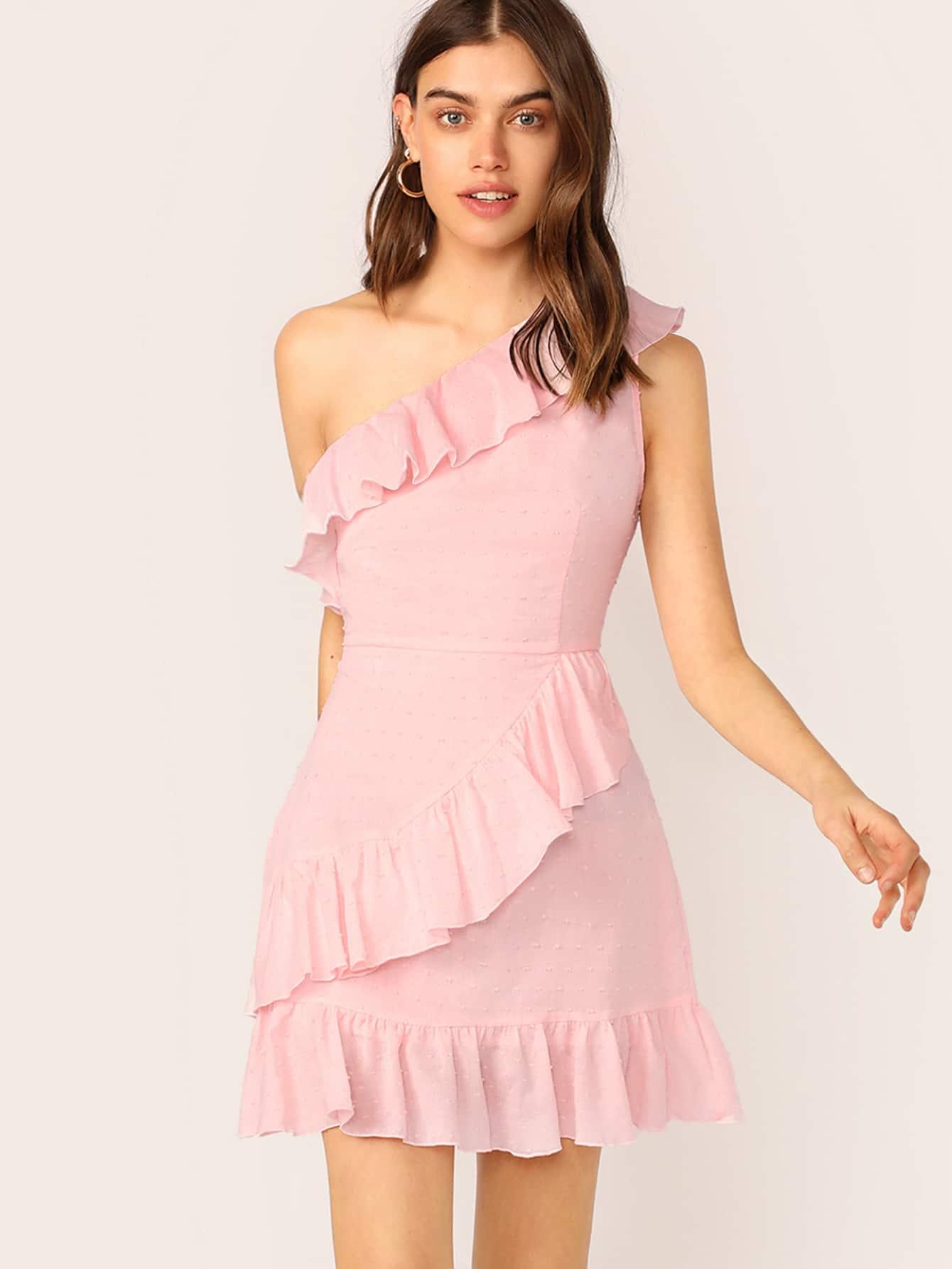 Фото - Платье на одно плечп с оборками от SheIn цвет розовые