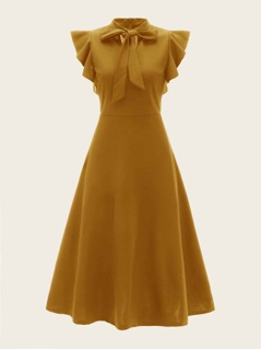 Tie Neck Ruffle Armhole Flare Dress