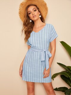 Cuffed Striped Belted Dress