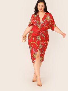 Plus Chain Print Twist Front Dress