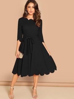 Scallop Edge Self Belted Fit & Flare Dress