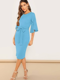 Split Sleeve Textured Belted Pencil Dress