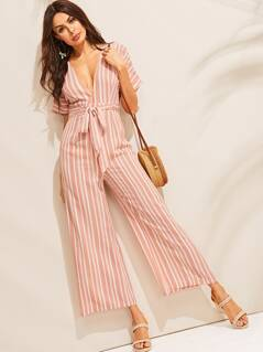 Striped Knot Backless Deep V-neck Palazzo Jumpsuit