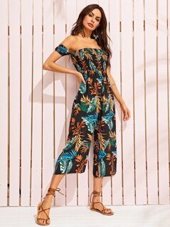 Jungle Print Shirred Wide Leg Bardot Jumpsuit