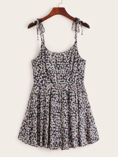 Self Tie Shoulder Wide Leg Ditsy Floral Playsuit