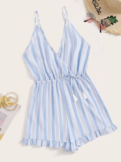 Tassel Drawstring Striped Wrap Romper