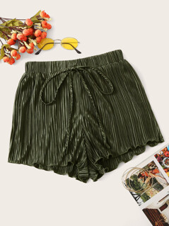 Knot Front Lettuce Trim Pleated Shorts