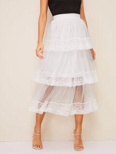Layered Ruffle Hem Lace Insert Mesh Overlay Skirt