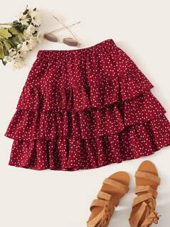 Plus Confetti Heart Print Layered Skirt