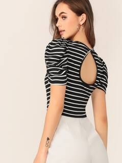 Puff Sleeve Keyhole Back Rib-knit Striped Top