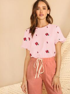 Ruffle Cuff Floral Embroidered Top