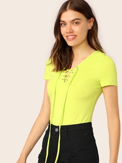 Neon Lime Lace Up V Neck Tee