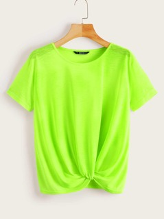Neon Lime Twist Front Top