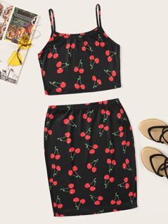 Cherry Print Crop Cami Top & Skirt Set
