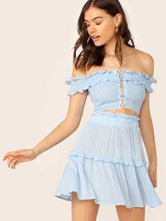 Frill Lace Up Shirred Bardot Top & Paperbag Waist Skirt Set