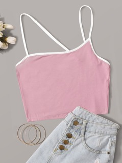 Asymmetrical Strappy Shoulder Ringer Cami Top