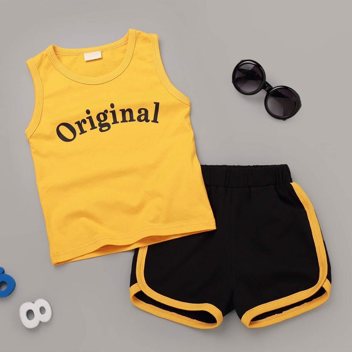 Топ с текстовым принтом и шорты для мальчиков от SHEIN