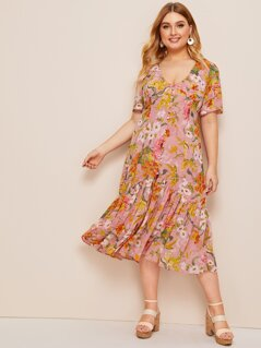 Plus Button Front Flippy Hem Floral Dress