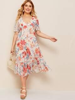 Plus Button Front Flippy Hem Floral Dress