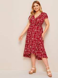 Plus Ditsy Floral Ruffle Trim Wrap Knotted Dress