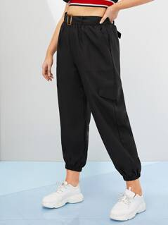 Plus Solid Belted Crop Cargo Pants