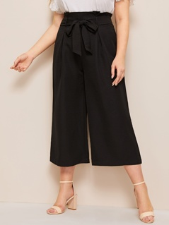 Plus Zip Back Belted Culotte Pants
