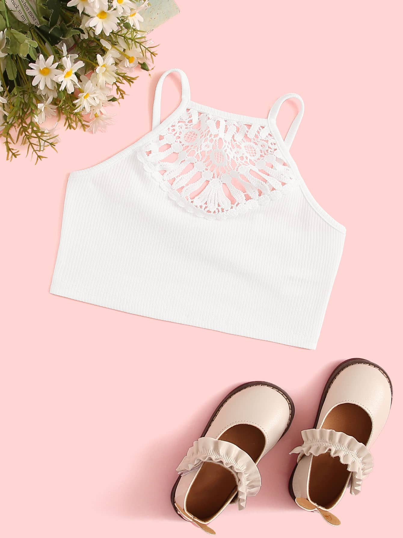 Girls Lace Insert Rib-knit Cami Top