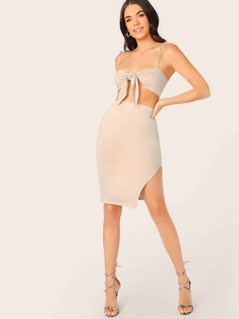 Tie Front Bralette Top And Side Slit Pencil Skirt