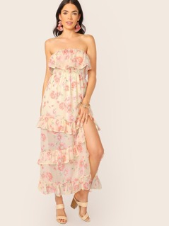 Strapless Tiered Ruffle Floral Chiffon Maxi Dress