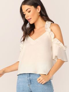 Cold Shoulder Ruffle Trim Short Sleeve Blouse