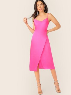Satin Sleeveless Wrap Split Midi Slip Dress