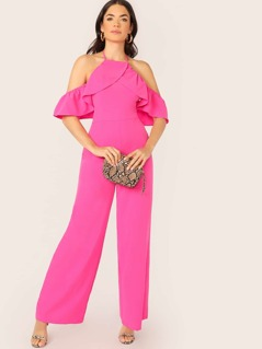 Halter Neck Open Shoulder Ruffle Jumpsuit