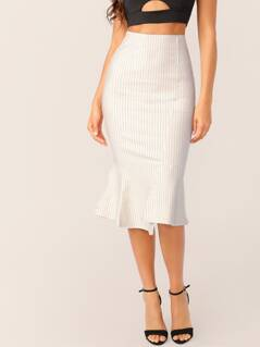 Elastic Waist Pin Stripe Flared Hem Midi Skirt
