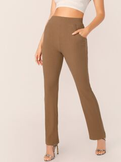 Elastic Waist Rib Knit Flared Leg Pants