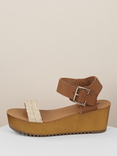 Woven Raffia Band Buckled Ankle Flatform Sandals