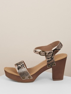 Snakeskin Buckled Ankle Strap Chunky Heels