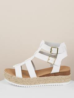 Two Buckle Strappy Gladiator Flatform Sandals