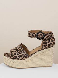 Cheetah Buckled Ankle Jute Wrapped Wedge Sandals