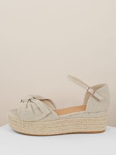 Twist Bow Band Open Toe Espadrille Sandals
